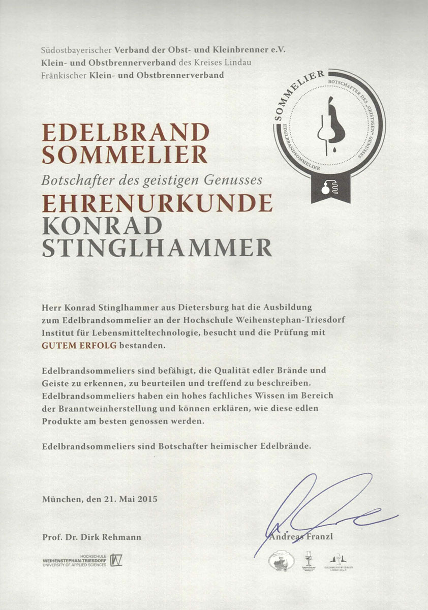 Ehrenurkunde für den Edelbrandsommelier Konrad Stinglhammer